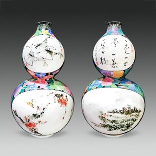 葫芦开窗满花瓶 高35cm 己亥年